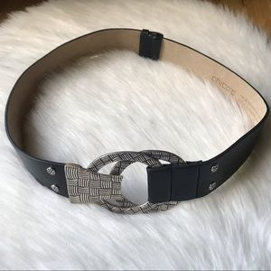 Chico's Silver Woven Detail Buckle Leather Belt